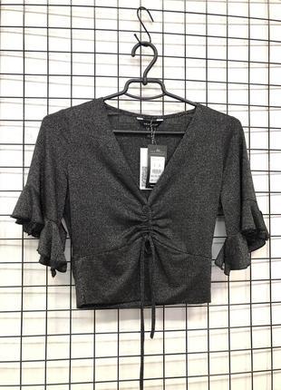 Блуза топ с люрексом и завязкой стильная new look