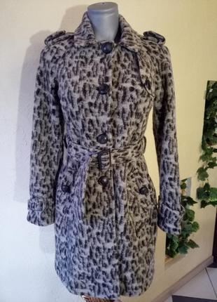Полушерстяное пальто деми,леопардовая расцветка в тренде