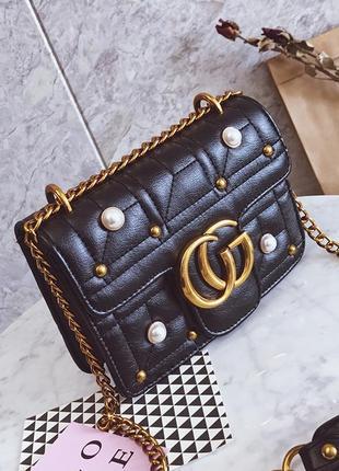 Новинка! стильная женская сумка в стиле gucci marmont с бусинками черного цвета