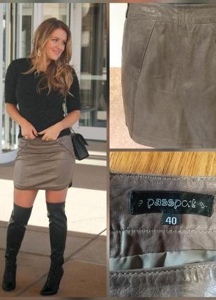 Фирменная стильная качественная натуральная кожаная мини юбка.