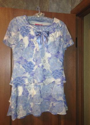 Красивый костюм jacques vert юбка + блузка в голубые цветы р14-16 xl-xxl