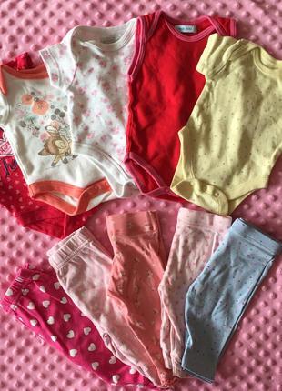 Пакет вещей набор боди человечки для новорожденной 0-3