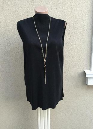 Чёрная блуза жатка-плиссе,большой размер