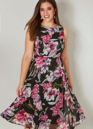 Платье миди в цветы на подкладке большого размера
