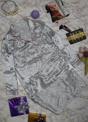 Обнова! пижама домашний костюм сатиновая в горох