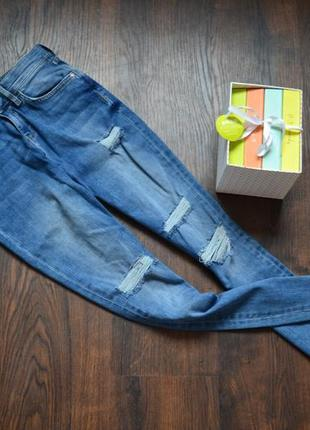 Высокие джинсы с необработаными краями river island, р-р 10