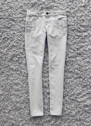 Джинсы белые коттоновые джинсовые gap оригинал брюки скинни летние с украшением