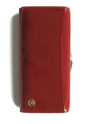 Большой вишневый кожаный лаковый кошелек, 100% натуральная кожа, есть доставка бесплатно