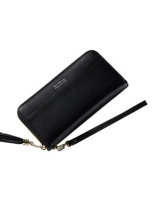 Черный удобный, вместительный кошелек на замке, бумажник