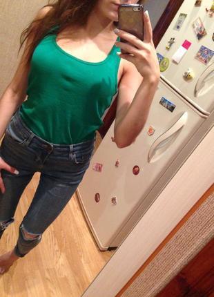 Зелёная хлопковая майка stradivarius , зелёная борцовка, базовая трендовая майка, кофта