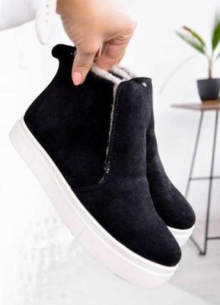 Черные ботинки кеды замша на платформе зима на меху