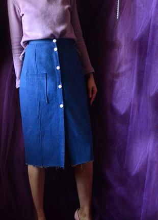 Классическая джинсовая юбка миди4