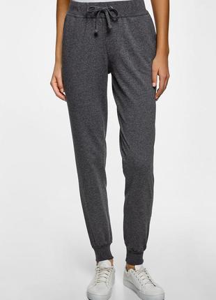 Трикотажные теплые с начесом спортивные стрейчевые  брюки  серый меланж blue motion