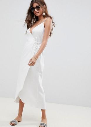 Льняное белое платье сарафан на запах длины макси на тонких бретелях от asos