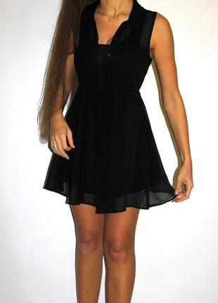 Черное платье h&m , пуговки + воротник --карманы на груди  -спинка прозрачная