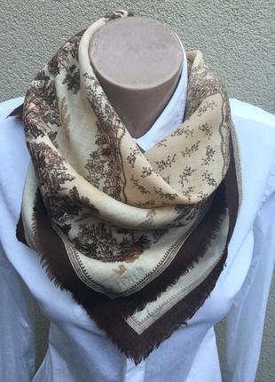 Винтаж,япония,эксклюзив,ручная роспись,тонкая100%шерсть платок,косынка,шарф