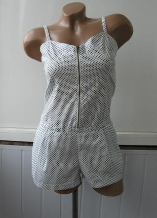 Комбинезон в горошек, с карманами, ромпер летний, натуральная ткань - хлопок
