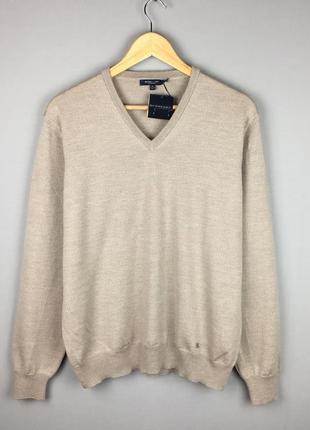 Новый шерстяной свитер burberry с v образным горлом италия оригинал