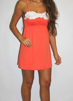 Ярко оранжевое платье, кружево на груди  -- срочная уценка --