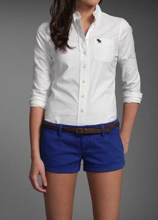 Рубашка белая хлопковая abercrombie&fitch оригинал коттон хлопок коттоновая