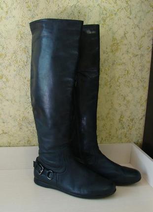 Высокие кожаные сапоги ботфорты стелька 26 см