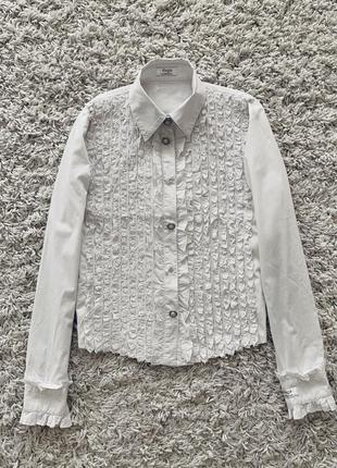 Блузка блуза рубашка с рюшами белая на кнопках нарядная daga оригинал хлопковая