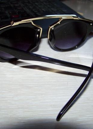 Очки в стиле стимпанк с дополнительной золотой рамой и серой градиентной дымчатой линзой5 фото