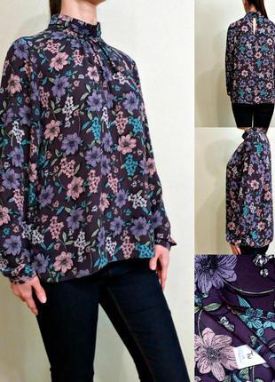 Красивая блуза с длинными рукавами в цветочный принт