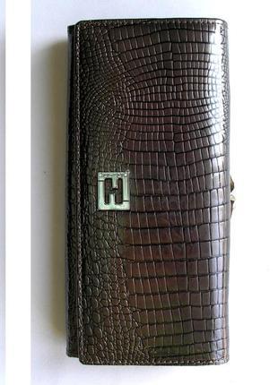 Большой кожаный лаковый кошелек grey, 100% натуральная кожа, есть доставка бесплатно