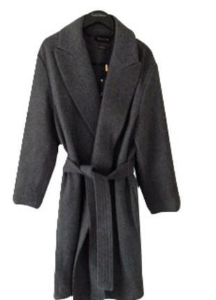 Пальто massimo dutti xs s оригинал серое шерстяное  на запах