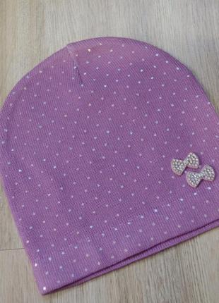 Крутая шапка в горошок на 40-49 см в цветах