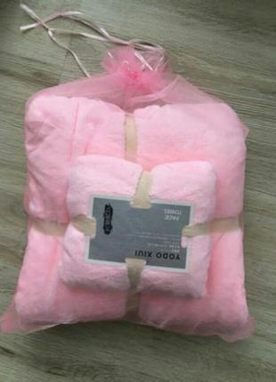 Комплект полотенец для ванной  розовый в подарочном  мешочке