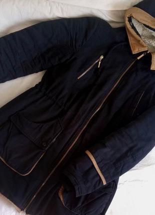Теплая синяя парка куртка