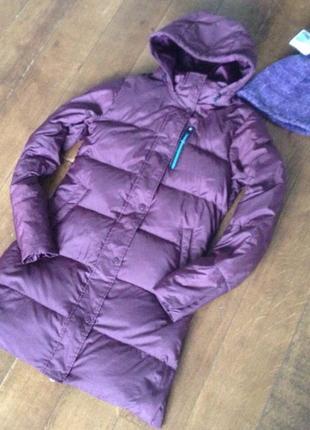 Женский длинный пуховик-пальто с капюшоном nike зима р. м + подарок