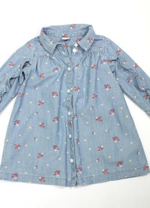 Джинсовое платье-рубашка gap 18-24 мес.