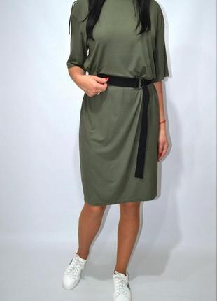Платье футболка оверсайз тесьма,ленты  akcept.