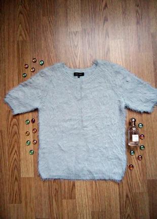 Пушистая футболка new look, серая, размер s