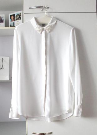 Белая шифоновая рубашка с жемчужным воротником от h&m