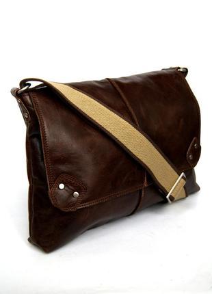 Мужская большая кожаная сумка через плечо. формат а4