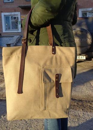 """Большая повседневная сумка """"шопер"""" из плотного сумочного брезента и кожи."""