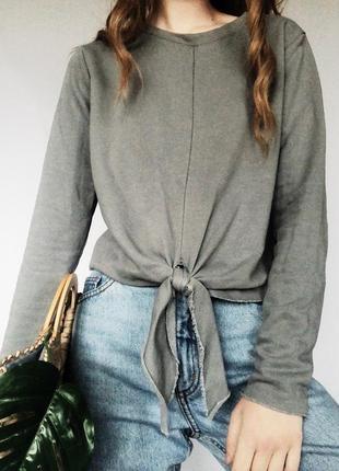 Стильная толстовочка приятного серого цвета с завязкой на талии от h&m