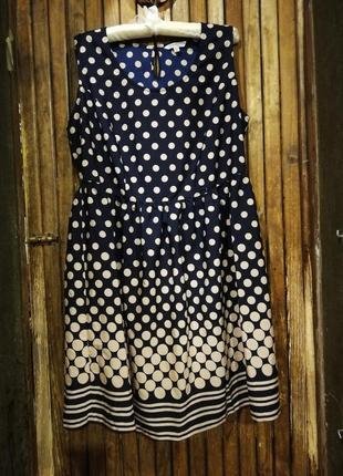 Bespoke платье тонкое в горошек темно-синее миди
