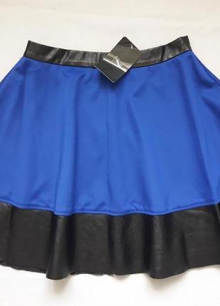 Суперовая юбка солнце - клёш пояс и низ экокожа сзади на молнии diffuse
