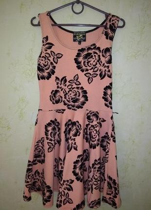 Летнее плотное платье персикового цвета