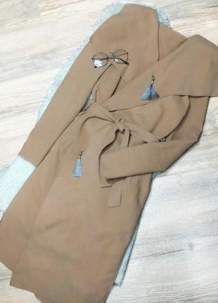 Пальто халат цвета кэмел, пальто на запах цвета camel