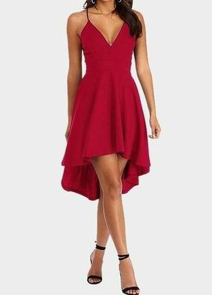 Бордове асиметричне плаття yoins (на спинці виріз)