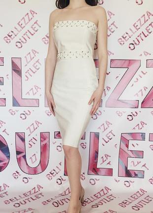 Утонченное бандажное белое платье missguided