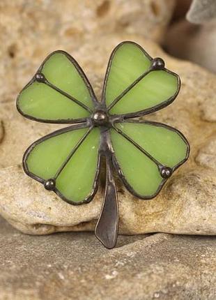 Брошь клевер-четырёхлистник символ удачи