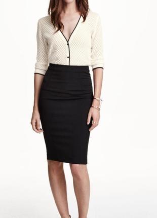 Обнова! юбка спідниця  карандаш футляр черная миди качество бренд h&m