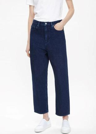 Cos джинсы с высокой посадкой укороченные мамы high rise slim fit tapered leg размер 28